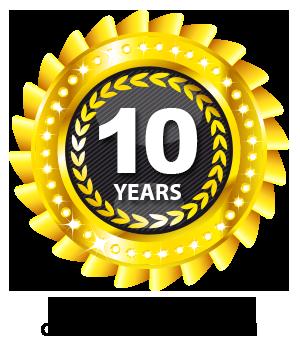 10 years guarantee customer satisfaction